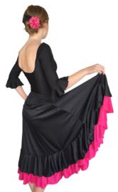 Spaanse flamenco rok meisjes zwart met roze rand