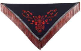 Spaanse manton/omslagdoek zwart rood franjes zwart rood L
