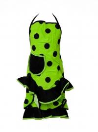 Spaanse schort lime-groen/zwart met zakje