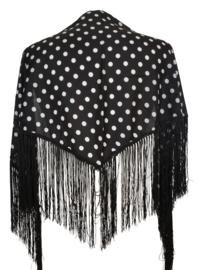 Spaanse manton/omslagdoek zwart witte stippen SMALL