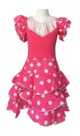 Spaanse flamenco jurk Niño roze wit