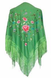Spaanse manton groen, diverse kleuren bloemen