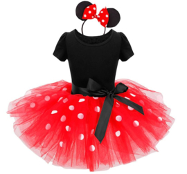 Minnie mouse jurk rood wit + GRATIS haarband