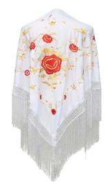 Spaanse manton/omslagdoek wit/rood goud