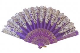 Spaanse flamenco waaier paars glitter