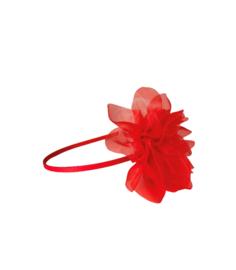 Prinsessen haarband rode grote bloem