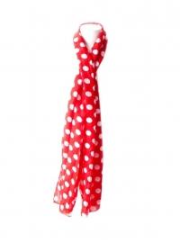 Spaanse flamenco sjaal rood met witte stippen