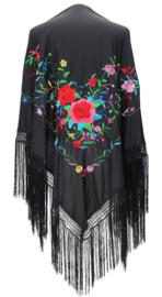 Spaanse manton zwart diverse bloemen franjes zwart LARGE