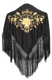 Spaanse manton/omslagdoek zwart gouden bloem SMALL