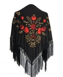 Spaanse manton/omslagdoek zwart goud rode bloemen