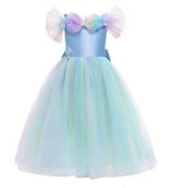 Prinsessenkleedje licht blauw vlinders Luxe + GRATIS kroon