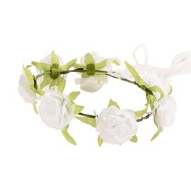 Bloemenkrans haarband met witte roosjes NIEUW