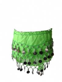 Spaanse dansdoek met muntjes, lime groen