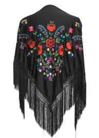 Spaanse manton/omslagdoek zwart diverse kleuren bloemen