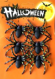 Halloween nep spinnen 6 stuks