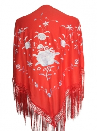 Flamenco Shawl red white