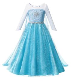 Elsa kleedje blauw Glamour met ster + GRATIS kroon