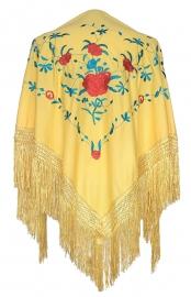 Spaanse manton geel blauw met rode rozen
