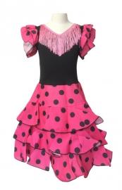 Spaanse flamenco jurk Niño roze zwart