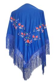 Spaanse manton/omslagdoek blauw diverse kleuren bloemen