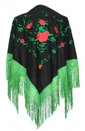 Spaanse manton zwart groen met rode rozen
