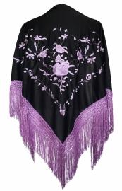 Spaanse manton omslagdoek zwart licht paarse rozen