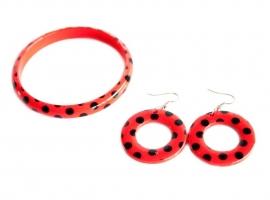 Spaanse armband en oorbellen, rood/zwart