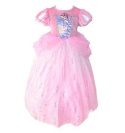 Zeemeermin prinsessenkleedje roze Deluxe + GRATIS kroon