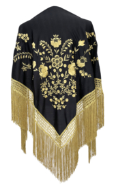 Spaanse manton/omslagdoek zwart goud gouden franjes LARGE