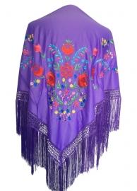 Spaanse manton/omslagdoek paars, diverse kleuren bloemen