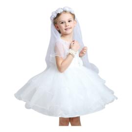 Bruidssluier haarband met roosjes wit