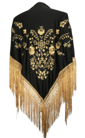 Flamenco Shawl black gold golden fringes