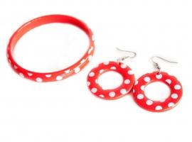 Spaanse armband en oorbellen, rood/wit