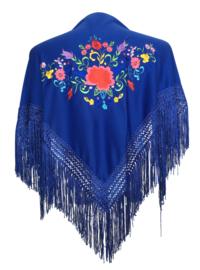 Spaanse manton konings blauw diverse kleuren bloemen SMALL