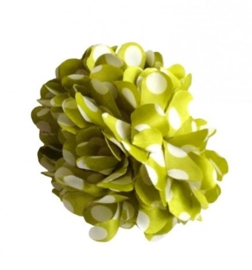 Flamenco hair flower green white dots