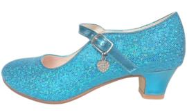 Spaanse schoenen blauw Glamour glitterhartje