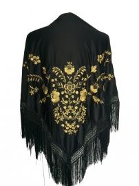 Spaanse manton/omslagdoek zwart met gouden bloemen