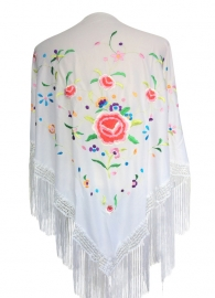 Spaanse manton/omslagdoek, wit met diverse bloemen