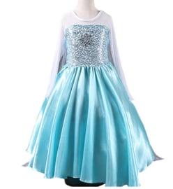 Frozen Elsa jurk blauw met Frozen ster + GRATIS ketting