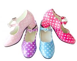 Spaanse schoenen bandjes 'glitter hart' (set)
