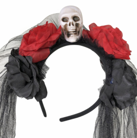 Haarband doodskop Halloween met sluier