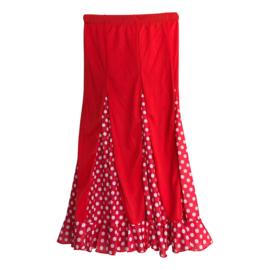 Spaanse flamenco rok meisjes rood witte stippen NIEUW