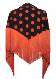 Spaanse manton met stippen zwart/oranje