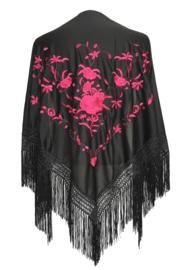Spaanse manton/omslagdoek zwart met roze rozen