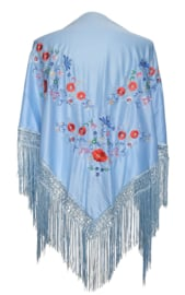 Spaanse manton/omslagdoek licht blauw met bloemen
