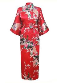 Chinese Kimono rood met opdruk dames