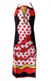 Spaanse schort flamenco roos rood