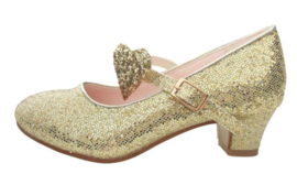 Spaanse schoenen goud glitter hart Deluxe