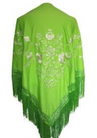 Flamenco shawl lime green white flowers