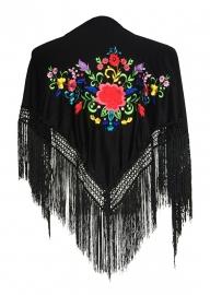 Spaanse manton zwart diverse kleuren bloemen SMALL